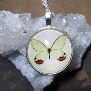 Vintage style Yellow butterfly pendant necklace
